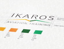 Ikaros logo and business card